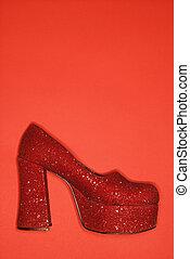 Red glitter high heel shoe. - Red glitter high heel shoe...