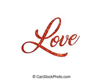 Red glitter of isolated hand writing word LOVE
