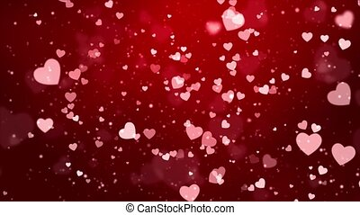 Red Glitter Sparkling Magic light. Shining Dust Heart bokeh particles Loop background 4K.