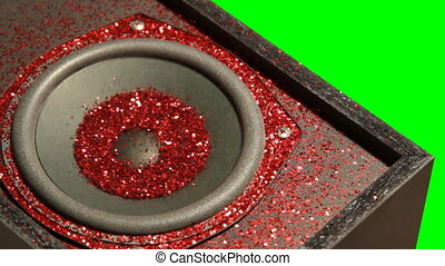 Red Glitter Speakers Green Screen
