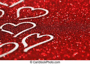 Valentines day card - Red glitter Valentines day card with...