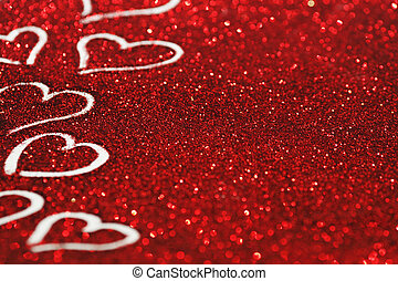 Red glitter Valentines day card with hearts