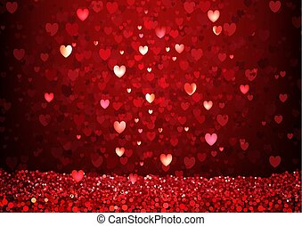 Red Glittering Hearts Background