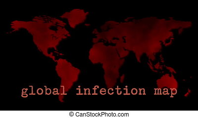 Red Global Infection Map Epidemic - An animation of the...