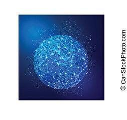red, global, malla, vector, ilustración, digital