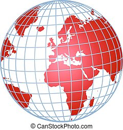 red globe - illustration of a globe