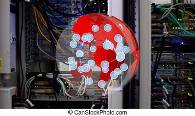 Red globe rotating with icons