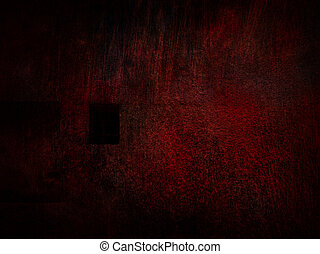 Red gloomy wall with guarded window.