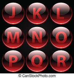 Red glossy alphabet letters (J-R)