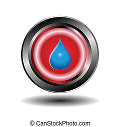 Red glossy blue water drops icon