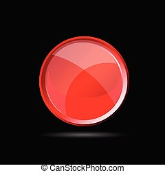 red glossy button on black vector illustration