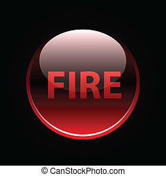 Red glossy fire button