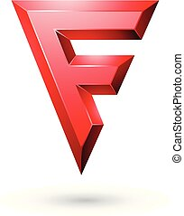 Red Glossy Geometrical Letter F Vector Illustration