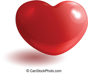 Red glossy heart 3d