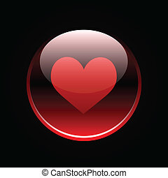 Red glossy heart button