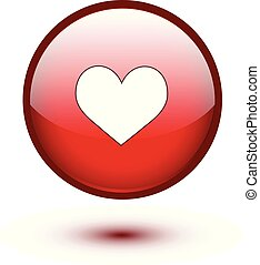 Red glossy heart button on white