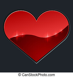 Red glossy heart on dark background