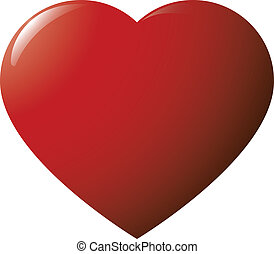 Red glossy heart on white background