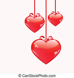 Red glossy hearts hanging with ribbon bows