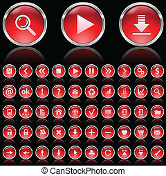 Red glossy icons