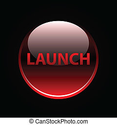 Red glossy launch button on black
