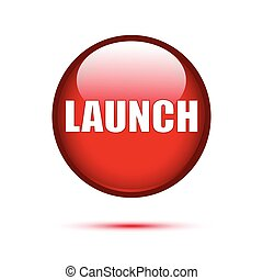 Red glossy Launch button on white