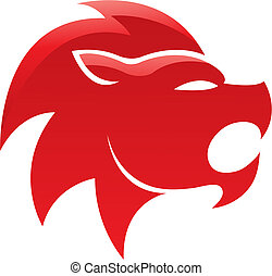 Red glossy lion isolated on white