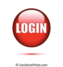 Red glossy login button on white