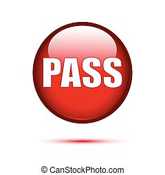 Red glossy pass button on white