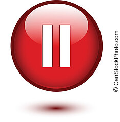 Red glossy pause button on white