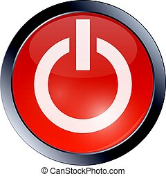 Red glossy power button on white