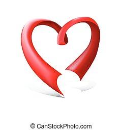 Red glossy ribbon heart