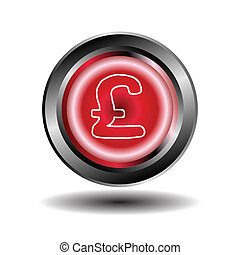 Red glossy round pound button