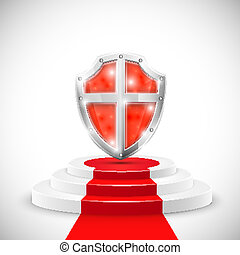 Red Glossy Shield On Pedestal.