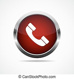 Red glossy telephone button. Vector illustration