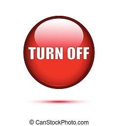 Red glossy Turn off button on white