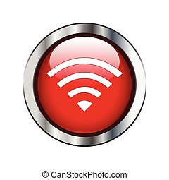 Red glossy wireless or wifi button sign on silver border