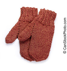 red gloves - a pair of red knitted woolen gloves in white...