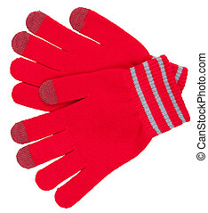Red gloves with gray straipes and dark red finger tips isolated to white background