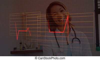 Red glowing heart rate monitor and square shapes against portrait of female doctor with stethoscope around her neck smiling. medicine research science concept