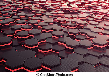 Red glowing hexagon futuristic background. 3d rendering