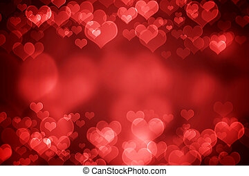 Red glowing heart shaped bokeh for Valentine's day background