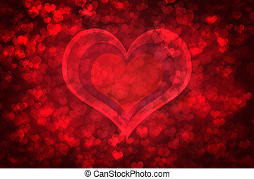 Red glowing Valentine's day background - Red glowing heart...