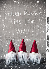 Red Gnomes, Snowflakes, Guten Rutsch Means Happy New Year 2021