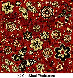 red-gold-black, vendemmia, seamless, modello