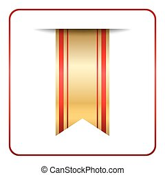 Red gold bookmark banner isolated