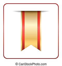 Red gold bookmark isolated