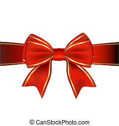 Diagonal red and gold gift wrap ribbon on white background