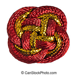 Red, gold Chinese lucky knot macro isolated on white background.