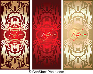 Red Gold Fashion Plate Background. Vector Illustration.